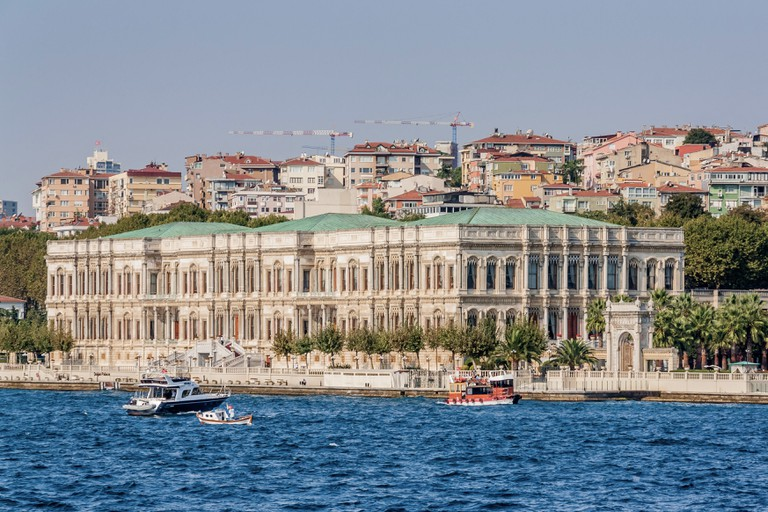 Istanbul, Turkey, October 8, 2011::Cirigan Palace (Kempinski Hotel) on the banks of the Bosporus.