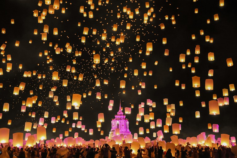 Floating sky lanterns at Loy Krathong festival, Chiang Mai, Thailand