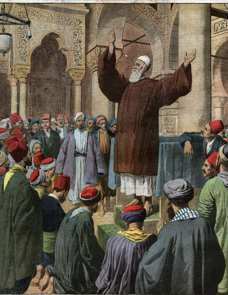 Religion. Islam. Abdul Baha (prophet of the Baha'i faith) preach for peace in a moskey in Constantinople (Istanbul, Turkey). Illustration in: Le Petit Journal, France, May, 4, 1913.