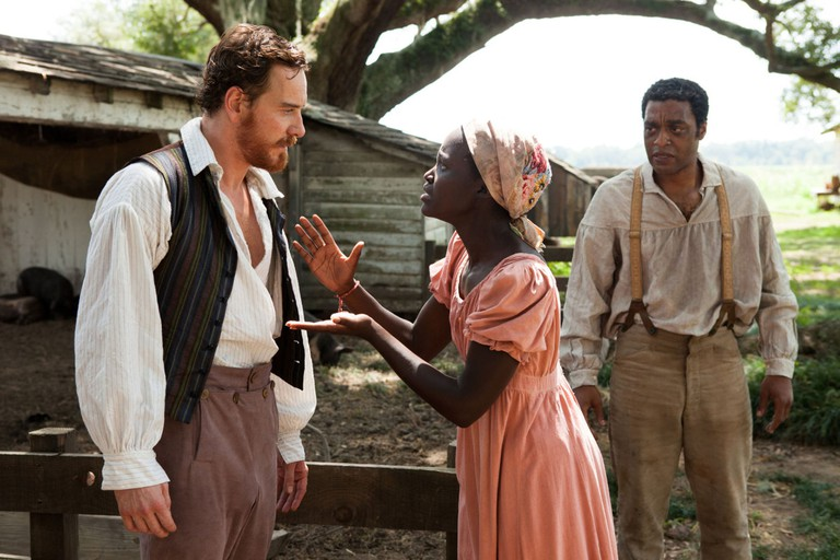 Michael Fassbender, Lupita Nyong'o and Chiwetel Ejiofor in 12 Years a Slave, 2013