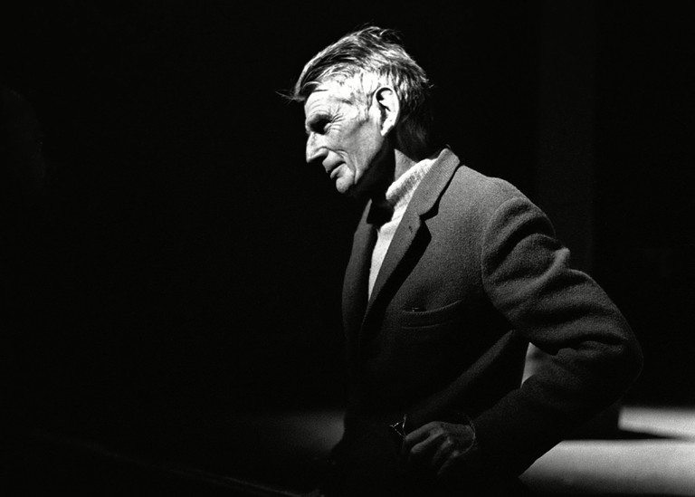 Samuel Beckett at rehearsal of 'Waiting for Godot' at the The Royal Court Theatre, London, Britain