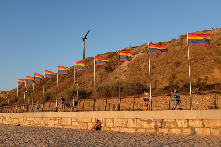 Rainbow flags are dotted around the city during Pride