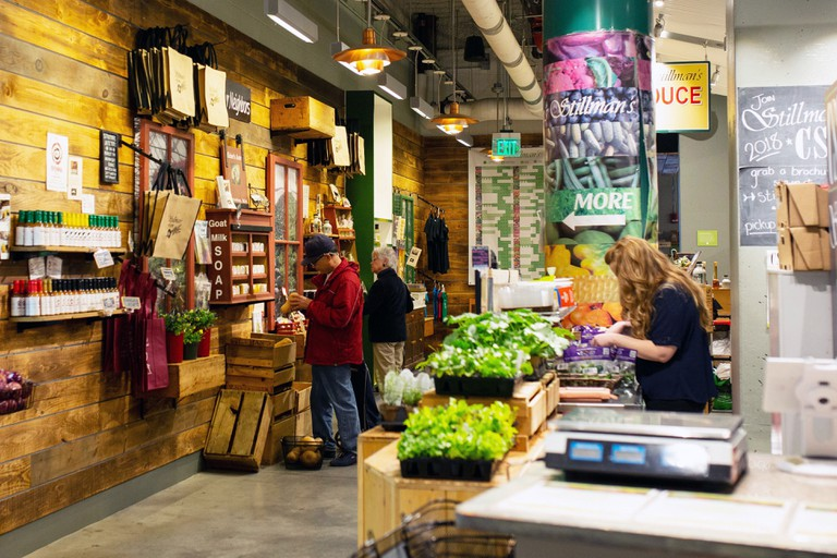 A fresh produce stand at the Boston Public Market in Boston, Massachusetts, USA.