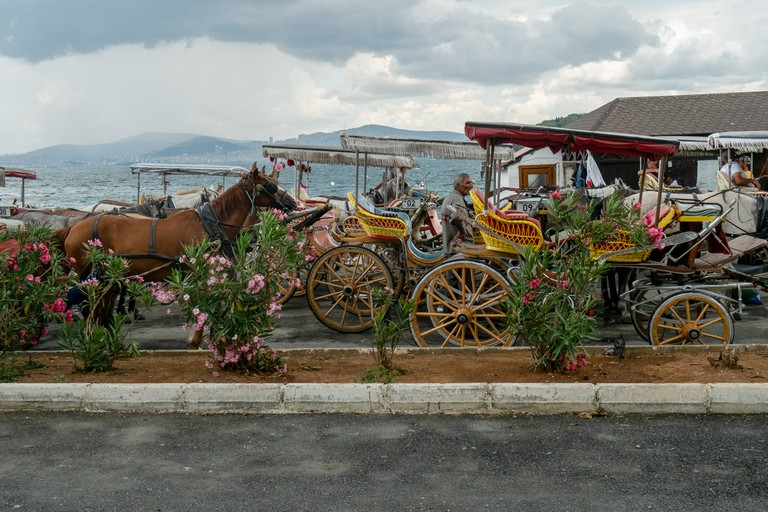 Horse drawn carriages wait for customers along the port on Burgazada, the second of Istanbul's 4 Princes' Islands.