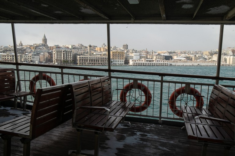 A view of the Galata tower and the lower Beyoglu neighbourhood in Istanbul, from a ferry.