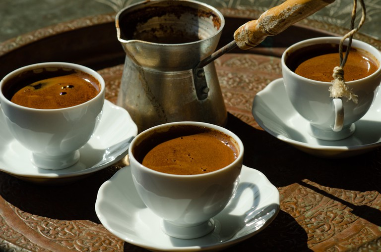 Traditional tray of Turkish style coffee