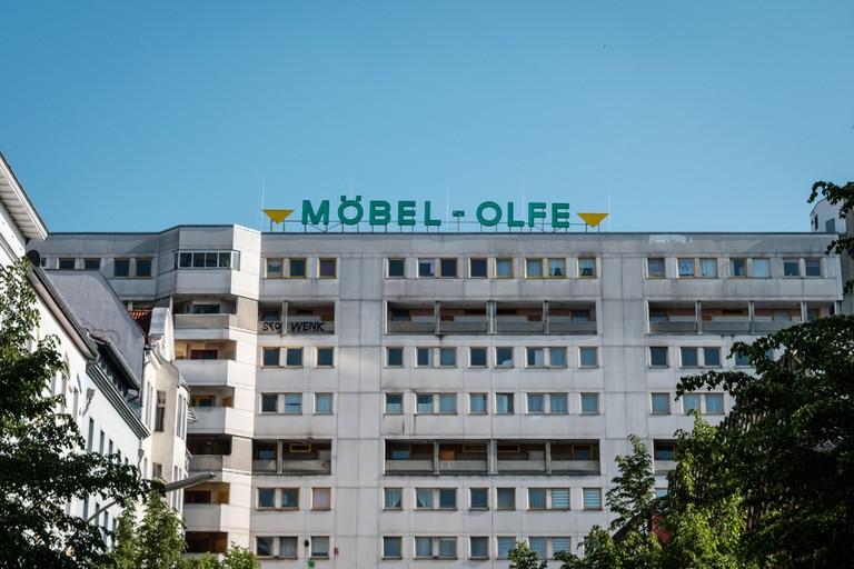 Berlin, Germany - May 01, 2019: Facade of apartment building at Kottbusser Tor in Berlin Kreuzberg