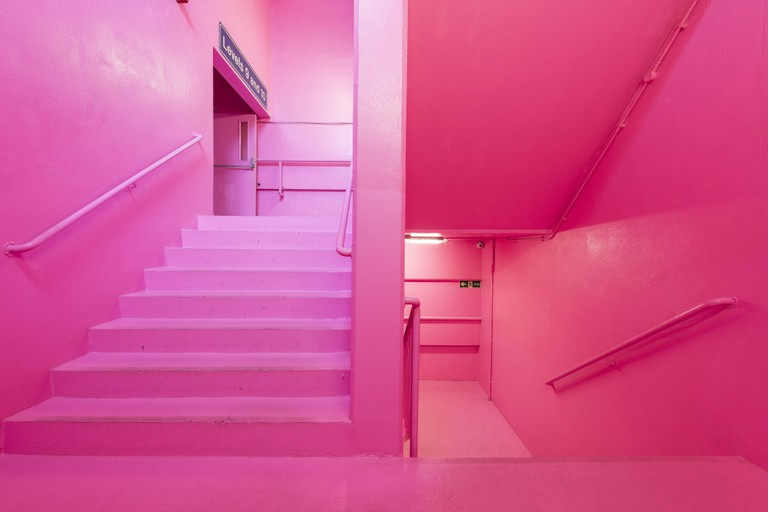 Bold Tendencies Entrance Staircase Simon Whybray hi boo i love you commissioned as a permanent work across the whole staircase in 2016