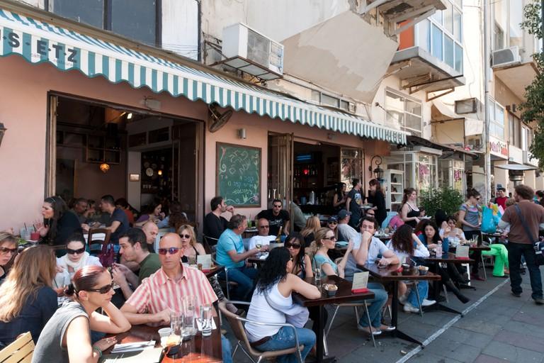 Busy cafe in Shenkin Street, Tel Aviv, Israel