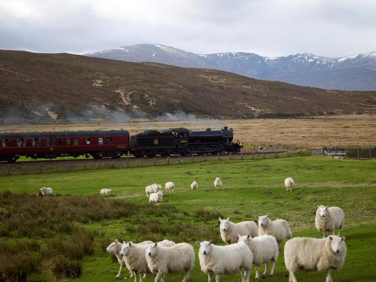 Great britain Rail Tour 2009, steam hauled between Inverness and Kyle of Lochalsh, Scottish Highlandsat Achnasheen
