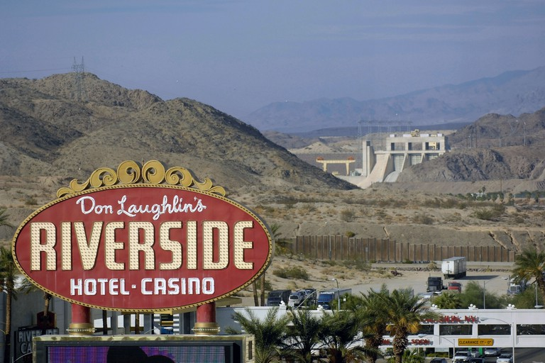 Don Laughlin's Riverside Hotel Casino, Laughlin Nevada with Hoover Dam visible