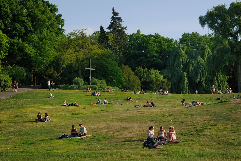 People enjoying sun in Viktoria Park, the so called Kreuzberg, in the popular Kreuzberg district, Berlin, Germany, Europe.