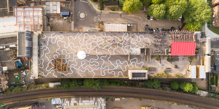 Bold Tendencies from above including Richard Wentworth Agora commissioned as a permanent work across the whole roof in 2015