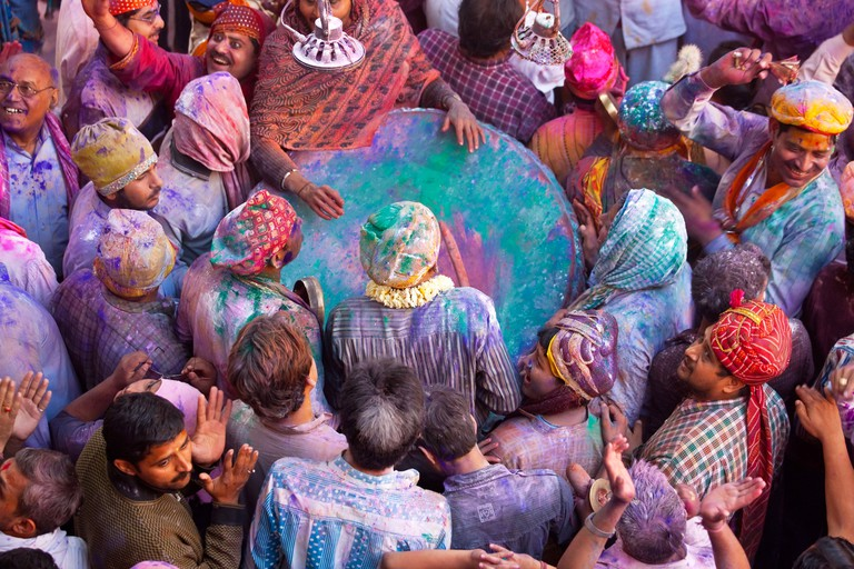Drum in temple during Holi festival, Mathura, Uttar Pradesh, India