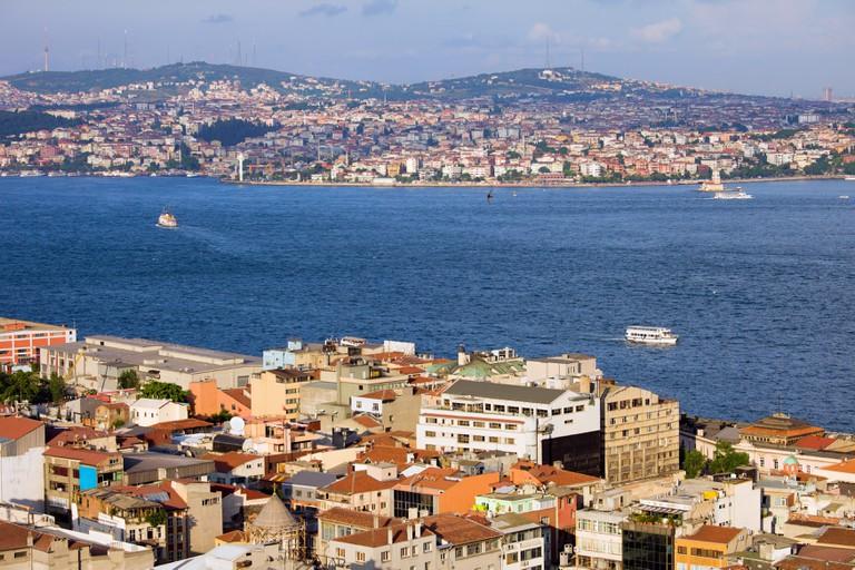View of the Beyoglu district and Bosporus Strait.