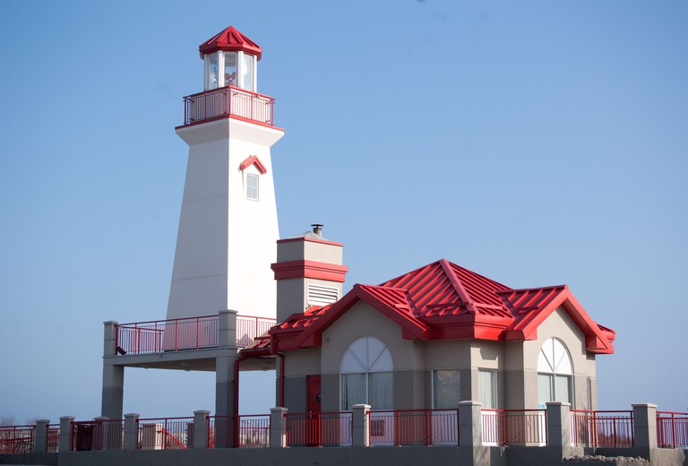 Unusual colorful lighthouse, located in Port Credit, near Toronto, Ontario.