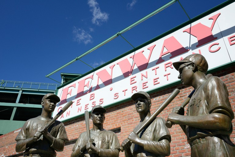Teammates staute outside Fenway Park in Boston -  Ted Williams, Johnny Pesky, Bobby Doerr and Dom DiMaggio