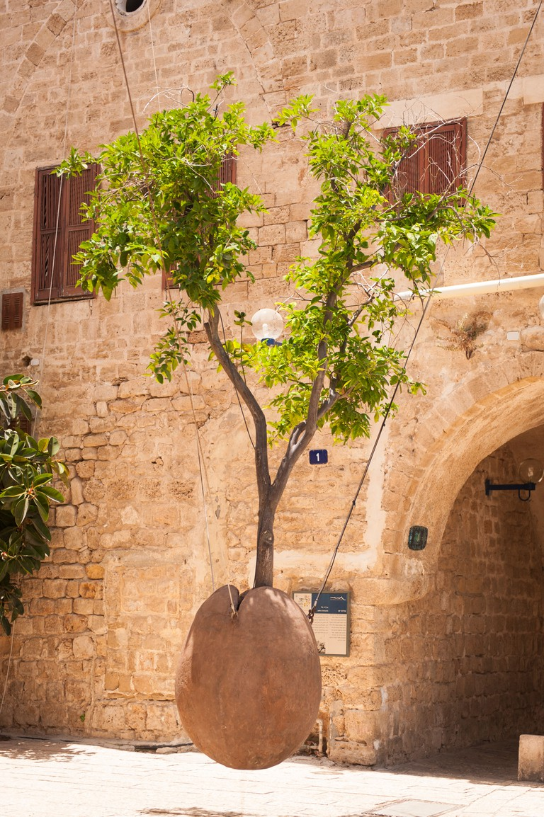 The Floating Orange Tree by Ron Morin in Yafo Artists Quarter, Old Jaffa.