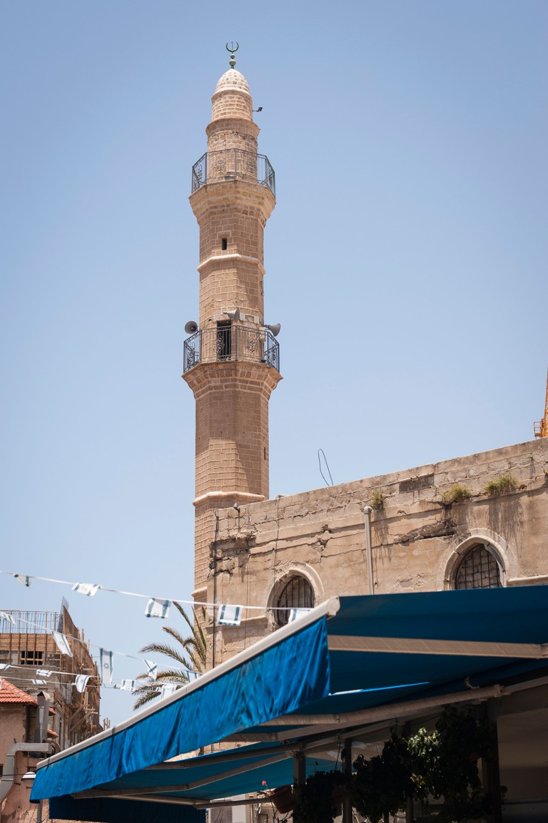 Bell tower of The Mahmoudiya Mosque built in 1812, Jaffa.