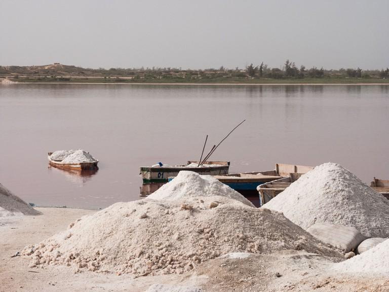 Salt collecting at Lac Rose or Retba near Dakar