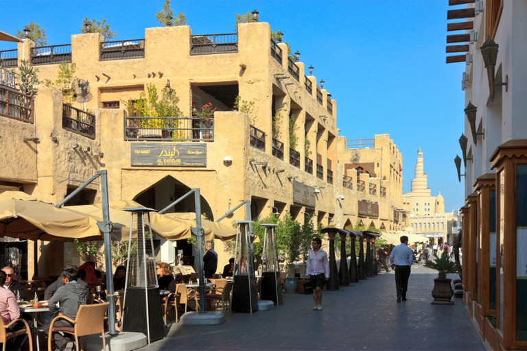 Open Air Restaurants at Souq Waqif, the old Souq at the City Centre of Doha