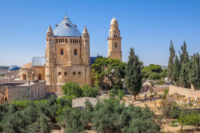 Abbey of the Dormition and catholic cemetery in Old City of Jerusalem, Israel on Mount Zion
