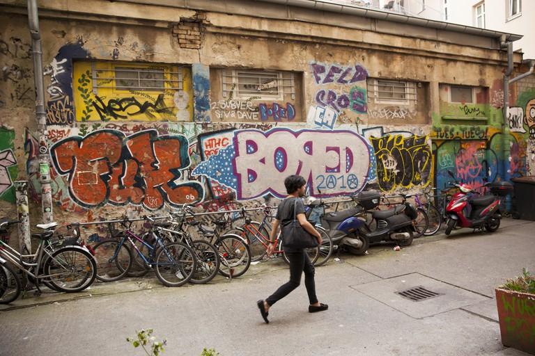 Graffiti on the walls of Haus Schwarzenberg, Rosenthaler Strasse