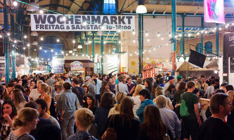 Crowds at Kreuzberg's Markthalle Neun