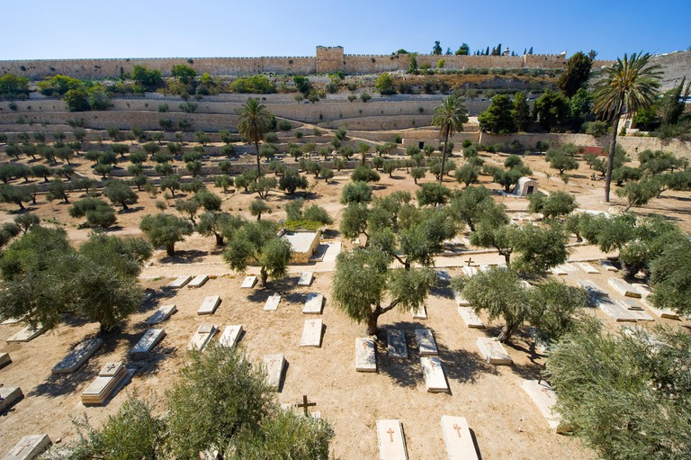 Christian cemetery in the Kidron valley on the foot of the mount of olives