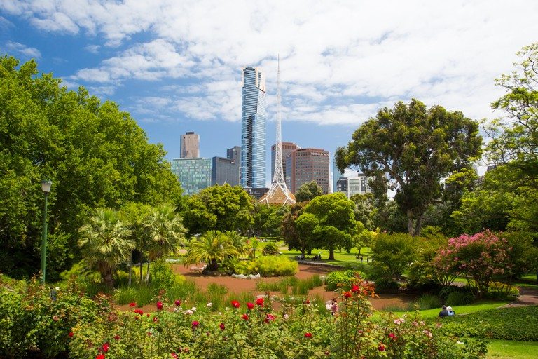 Melbourne, Australia - January 26 - Melbourne's famous Southbank skyline over Queen Victoria Gardens on Australia Day on January