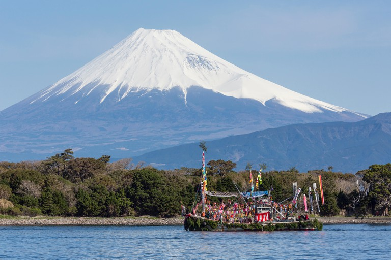 Fish boat and Mt. Fuji