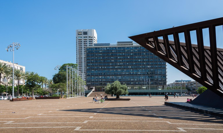 View of Rabin Square showing the Tel Aviv City Hall in background, Tel Aviv, Israel