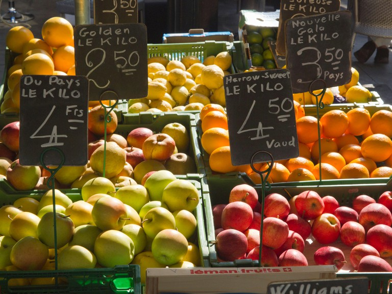 Pick up some fruit and vegetables at a Geneva farmer's market