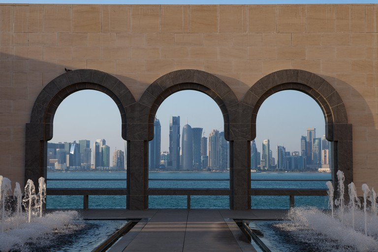 Iconic building designed by renowned architect I.M. Pei as seen from the Museum of Islamic Art (MIA) in Doha, Qatar.