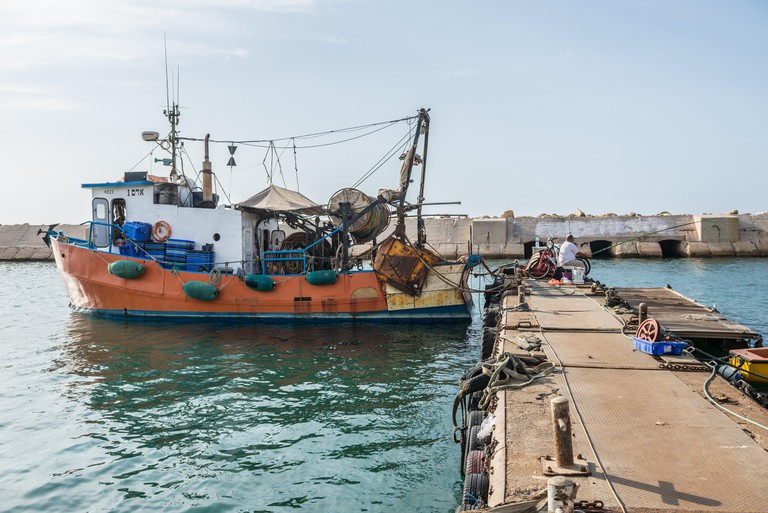 Fishing boat in Jaffa, oldest part of Tel Aviv city, Israel.