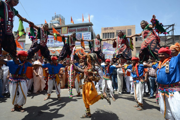 Folk artist participate in a procession organised by VHP {Vishva Hindu Parishad} on the occasion of Ram Navami festival. Hindu devotees celebrate the festival of Ram Navami, the birth anniversary of Lord Rama across India, which also marks the end of the