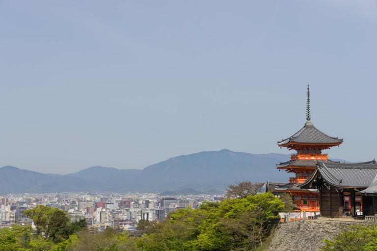 View of Kyoto and Kiyomizudera pagoda