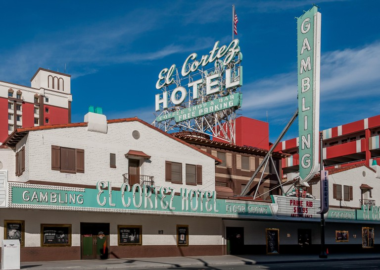 El Cortez Hotel + casino on East Fremont Street in old Las Vegas, Nevada.