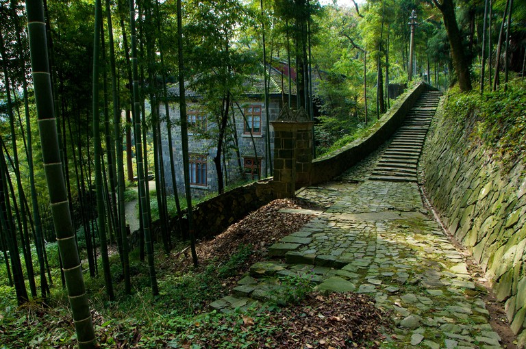 House in bamboo grove, Moganshan, Zhejiang, China.