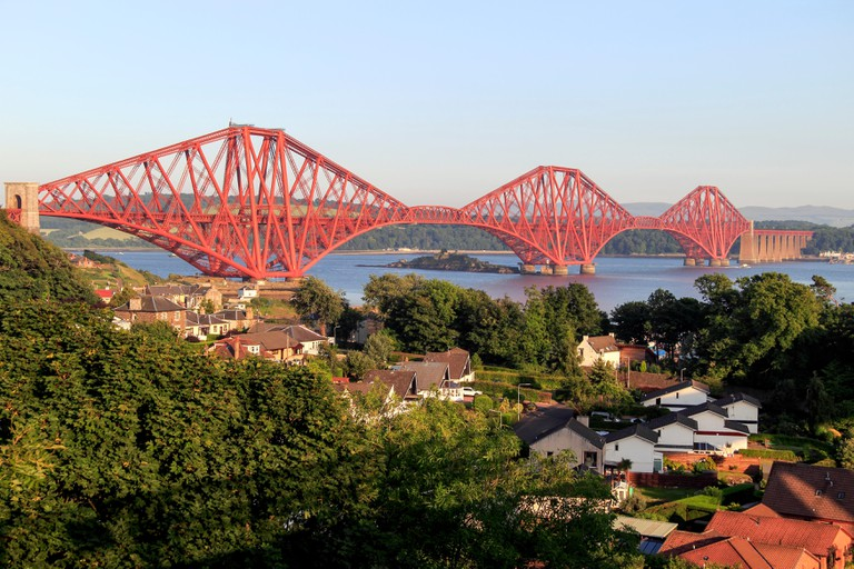 The Forth Bridge taken from North Queensferry, Lothian, Scotland, UK