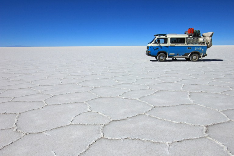 Van on Salar de Uyuni, salt lake, Bolivia
