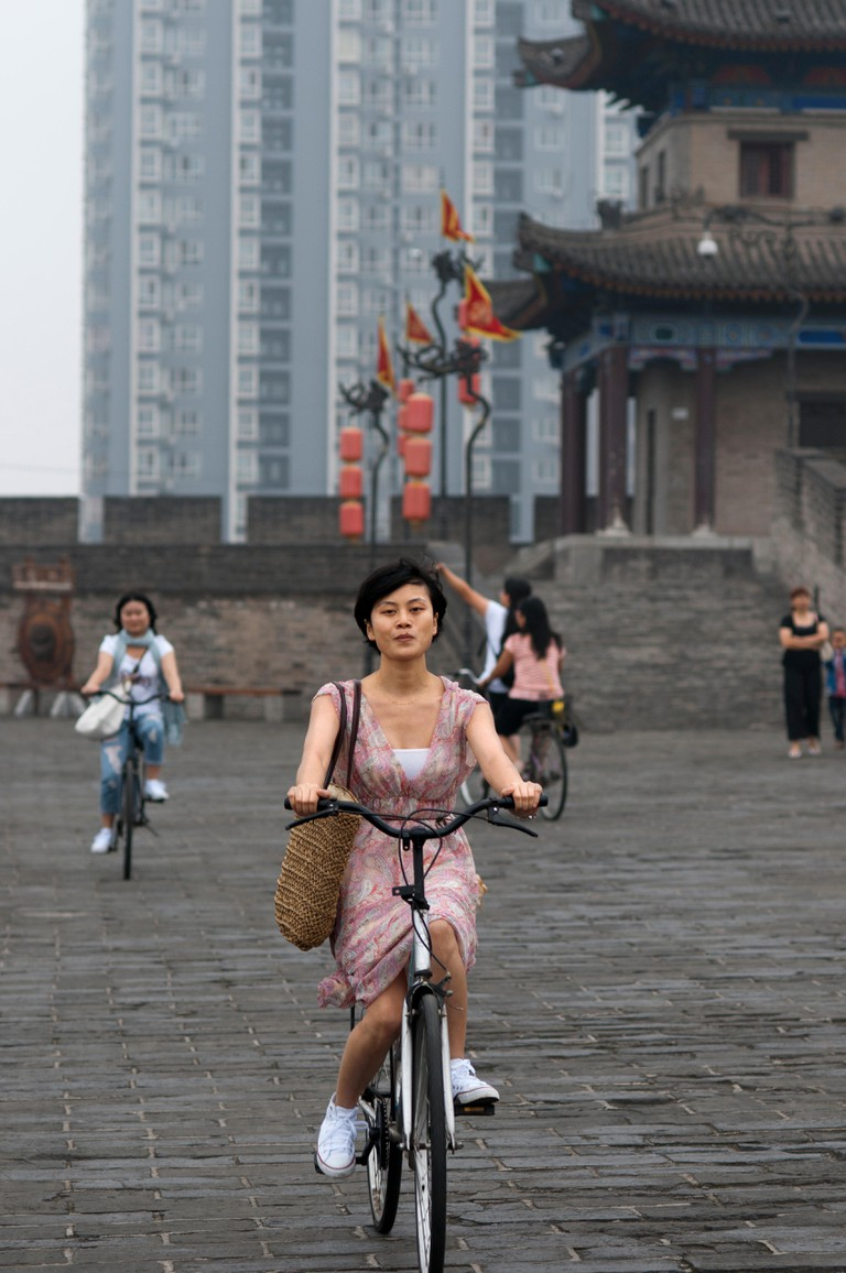 Bibycle ride around the ancient Xian City Great Wall, Shaanxi