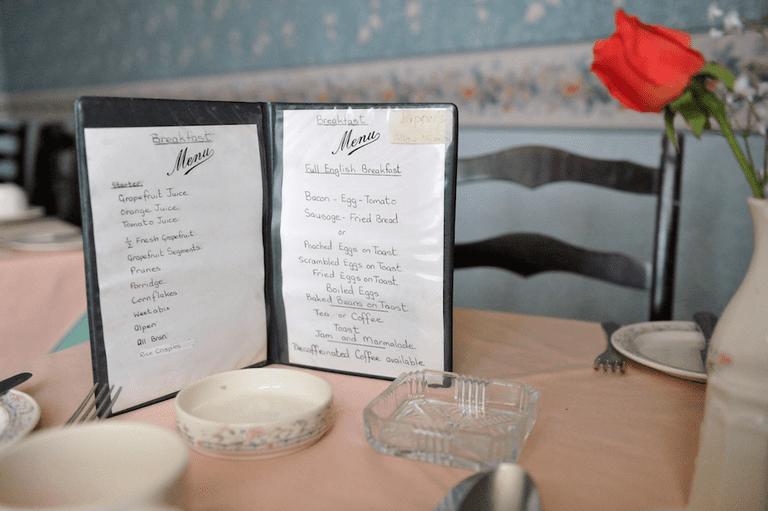 Henry Iddon, Ocean Hotel, Blackpool – Breakfast Menu, 9th June 2016