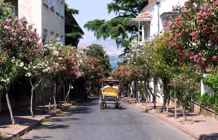 Street scene in Buyukada, one of the Princes's Islands off of Istanbul, Turkey.