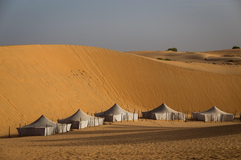 The peaceful surroundings of the tents of Lompoul Desert