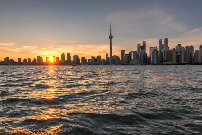 Toronto skyline at  sunset, with CN Tower, Canada