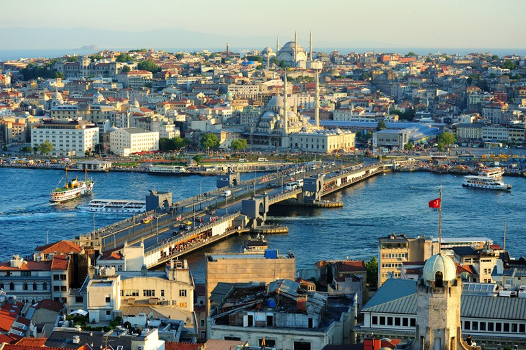 View on Golden Horn bay from Galata Tower,Istanbul,Turkey.