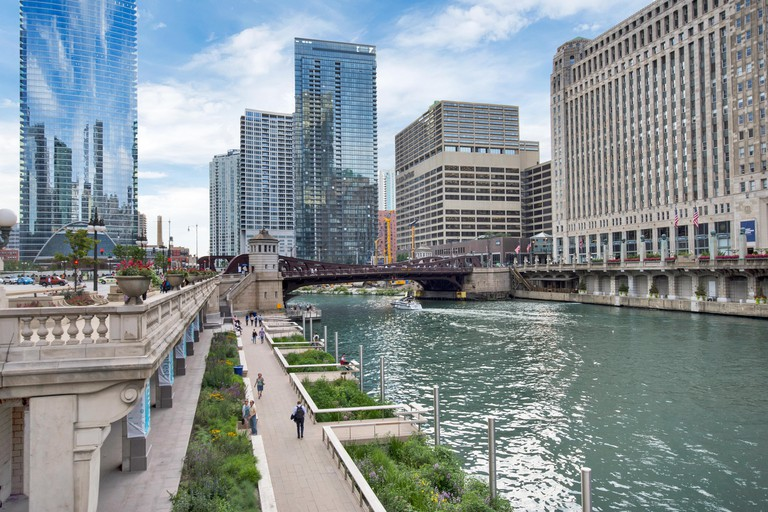 Northern Chicago River Riverwalk on North Branch Chicago River in Chicago, Illinois
