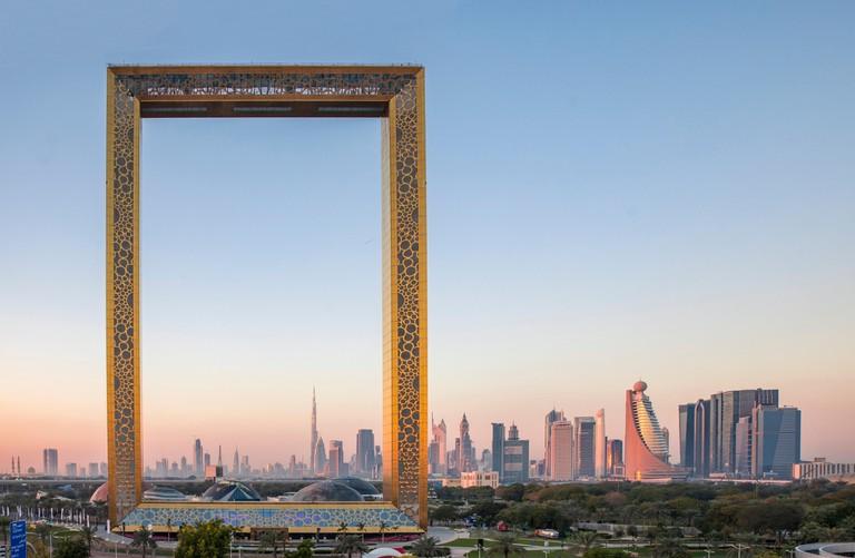 The Dubai Frame building at sunrise