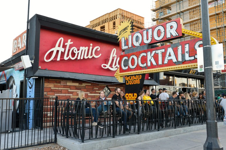The exterior of the Atomic Liquor cocktail lounge in downtown Las Vegas, Nevada